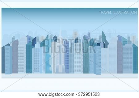 Vector Postcard Overlooking A Modern City With Blue Skyscrapers