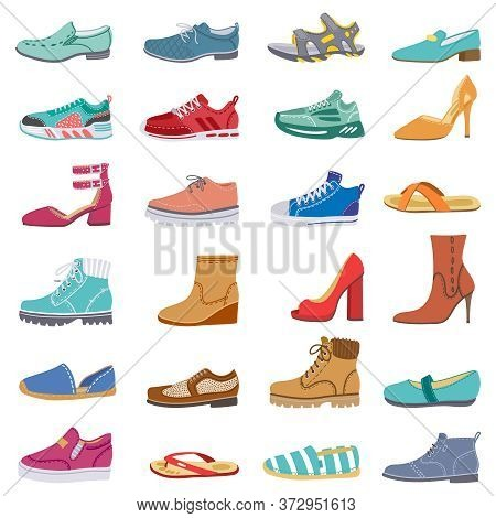 Footwear Collection. Male And Female Shoes, Sneakers, Flat And Boots, Trendy Winter, Spring Shoes, E