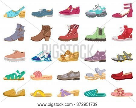 Boots And Shoes. Modern Elegant Female, Male And Childrens Footwear, Sneakers, Sandals, Boots For Wi