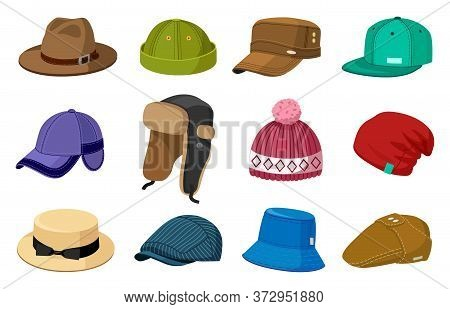 Man And Woman Headwear. Elegant Modern And Retro Hats And Caps, Stylish Fashion Male And Female Acce