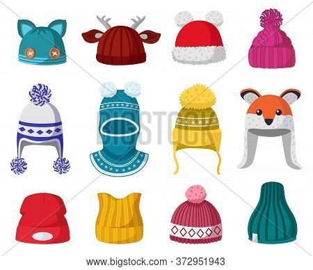 Knitted Winter Hats. Kids Knit Warm Headwear, Autumn And Winter Accessories Isolated Vector Illustra
