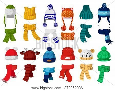 Winter Hats. Kids Knitting Autumn Headwear, Hats And Scarf, Cold Weather Children Accessories Isolat