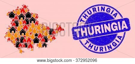 Fire And Houses Composition Thuringia Land Map And Thuringia Scratched Stamp Seal. Vector Collage Th