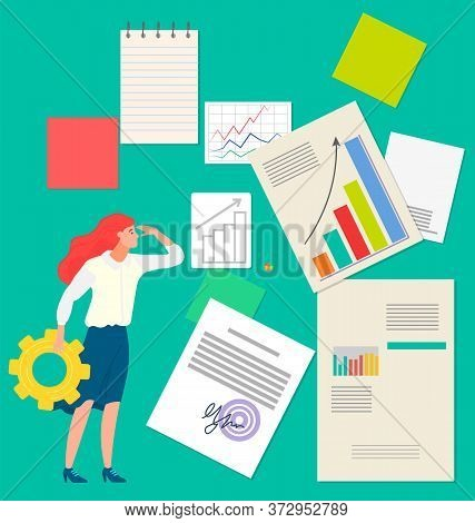 Woman And Paperwork Symbol, Graph Report, Data Analysis. Business Researching, Employee Development,