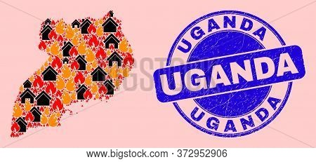 Fire Hazard And Homes Collage Uganda Map And Uganda Dirty Stamp Print. Vector Collage Uganda Map Is