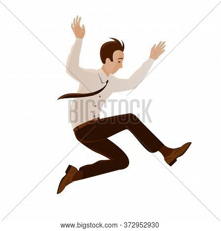 A Businessman In A Tie Made A Jump. Pose During The Flight. Overcoming Obstacles. Vector Isolated Il