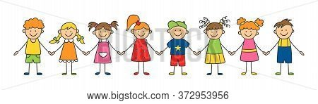 Group Of Funny Kids Holding Hands. Friendship Concept. Happy Cute Doodle Children. Isolated Vector I