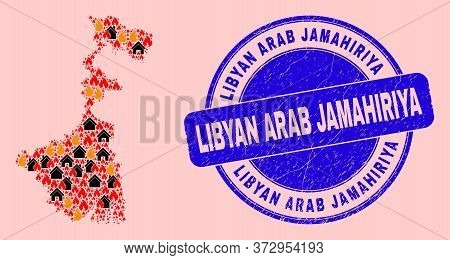 Flame And Homes Collage West Bengal State Map And Libyan Arab Jamahiriya Rubber Stamp Imitation. Vec