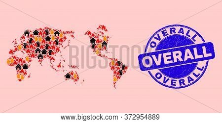 Fire Disaster And Realty Collage Worldwide Map And Overall Scratched Stamp Imitation. Vector Mosaic