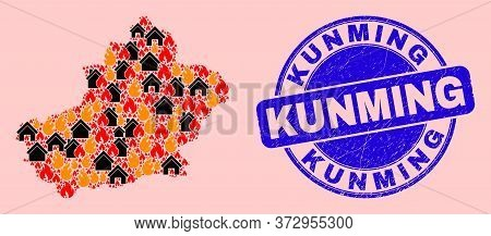 Fire Hazard And Property Collage Xinjiang Uyghur Region Map And Kunming Corroded Stamp Imitation. Ve
