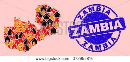 Fire And Houses Collage Zambia Map And Zambia Unclean Stamp Print. Vector Mosaic Zambia Map Is Compo