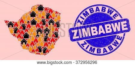 Fire Disaster And Buildings Collage Zimbabwe Map And Zimbabwe Unclean Stamp Seal. Vector Mosaic Zimb