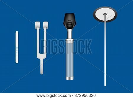 Set Of Neurological Instruments Including Pen Light, Tuning Fork, Ophthalmoscope And Reflex Hammer