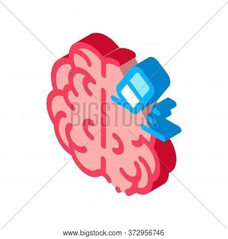 Brain Mind Erase Eraser Icon Vector. Isometric Brain Mind Erase Eraser Sign. Color Isolated Symbol I