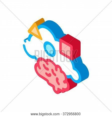 Dementia Brain Figures Icon Vector. Isometric Dementia Brain Figures Sign. Color Isolated Symbol Ill