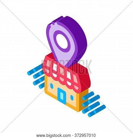Franchise Building Location Gps Mark Icon Vector. Isometric Franchise Building Location Gps Mark Sig