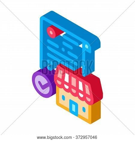 Franchise Contract Agreement Icon Vector. Isometric Franchise Contract Agreement Sign. Color Isolate