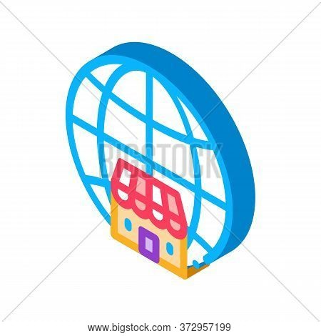 Worldwide Franchise Icon Vector. Isometric Worldwide Franchise Sign. Color Isolated Symbol Illustrat