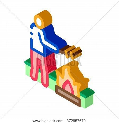 Human Cooking On Camp Fire Icon Vector. Isometric Human Cooking On Camp Fire Sign. Color Isolated Sy