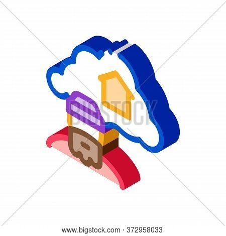 Homeless Dreaming About Home Icon Vector. Isometric Homeless Dreaming About Home Sign. Color Isolate