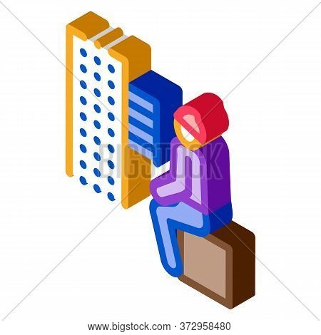 Homeless Sitting On Box In City Icon Vector. Isometric Homeless Sitting On Box In City Sign. Color I