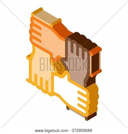 Multiracial Group Hands Holding Icon Vector. Isometric Multiracial Group Hands Holding Sign. Color I