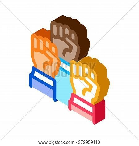 Multiracial Fists Icon Vector. Isometric Multiracial Fists Sign. Color Isolated Symbol Illustration