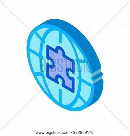 Globe Puzzle Piece Icon Vector. Isometric Globe Puzzle Piece Sign. Color Isolated Symbol Illustratio