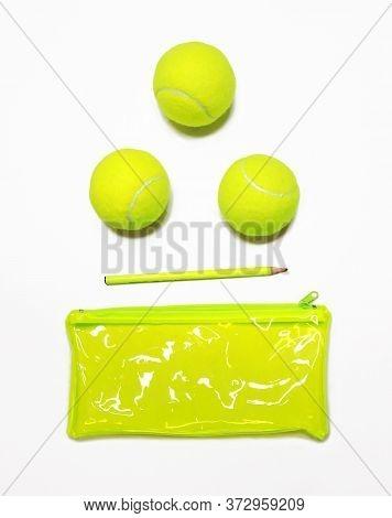 Tennis Style. Trendy Tennis Accessories - Pencil,  Tennis Ball, Yellow Clutch