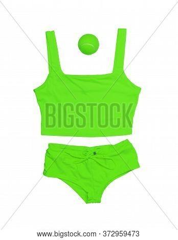 Tennis Style. Fashionable Tennis Clothes, Tennis Shorts, Tennis Tank Top, Tennis Ball Green Color