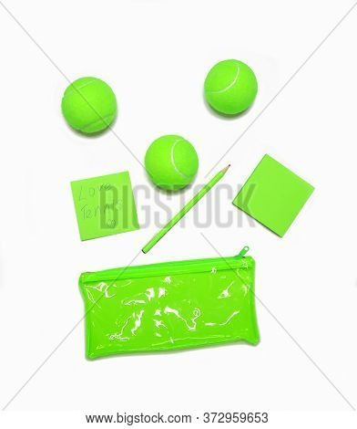 Tennis Style. Trendy Tennis Accessories, Unusual Color Green - Notebook, Pencil, Clutch, Tennis Ball