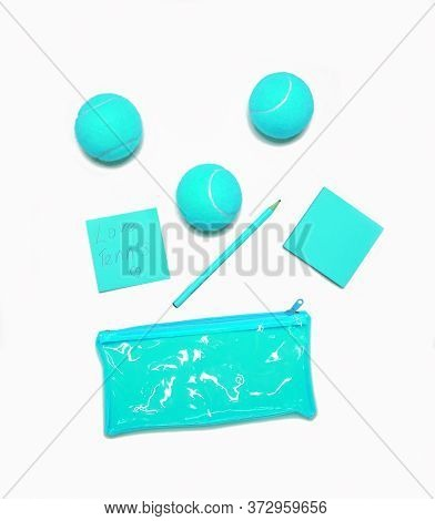 Tennis Style. Trendy Tennis Accessories, Unusual Color Blue- Notebook, Pencil, Clutch, Tennis Ball