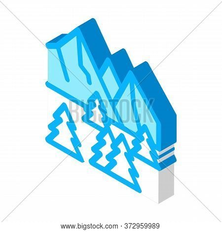 Snowy Mountain And Forest Nature Icon Vector. Isometric Snowy Mountain And Forest Nature Sign. Color