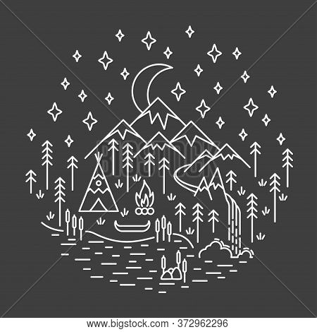 Indian Tepee Camping Scene In Cirle Banner In Linear Style Isolated On Black Background. Nature Trav