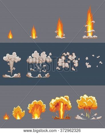 Cartoon Explosion Effect With Smoke. Comic Boom Effect, Explode Flash, Bomb Comic, Vector Illustrati