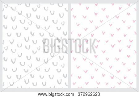 Simple Abstract Spots Vector Patterns. Pink And Gray Hand Drawn Irregular Brush Spots And Arcs Isola