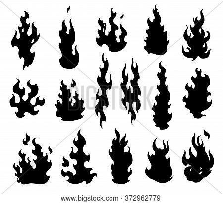 Set Fire Flames. Cartoon Collection Of Abstract Monochrome Fires. Flaming Illustration. Comic Danger