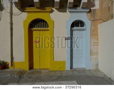 yellow and blue door