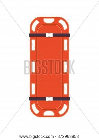 Orange Stretcher Design, Emergency Rescue Save Department 911 Danger Help Safety And Aid Theme Vecto