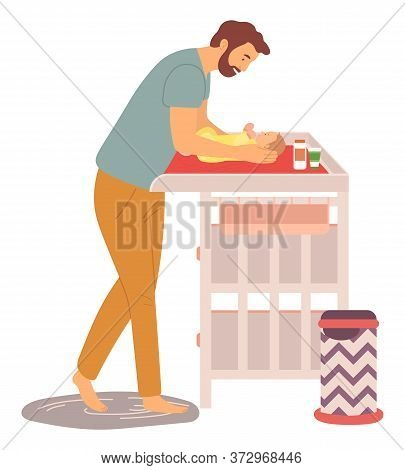 Kid Laying On Changing Table Vector, Daddy Caring For Newborn Kid Flat Style, Parenting And Nursing
