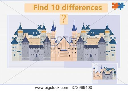 Find The Difference In A Children's Game On The Theme Of Medieval Castles