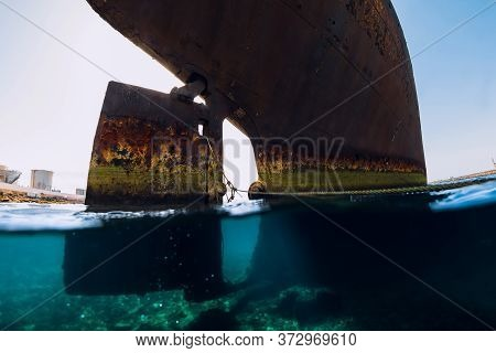 Telamon Wreck Ship In Blue Ocean Near Arrecife, Lanzarote