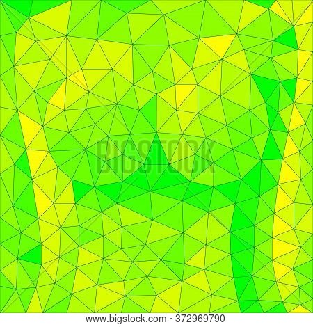 Green Triangles Mosaic Background With Colored Form Of Sexy Body