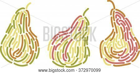 Vector Logo Design Template With Three Pear Fruits In Trendy Linear Style - Abstract Emblem For Orga