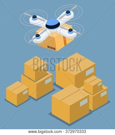 Lifting And Moving Parcels Using Quadcopter, Also Called Quadrotor. Modern Unmanned Device For Loadi