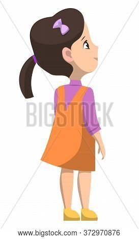 Schoolgirl Standing Alone And Smiling. Brunette Girl Dressed In Orange Dress And Violet Shirt. Happy