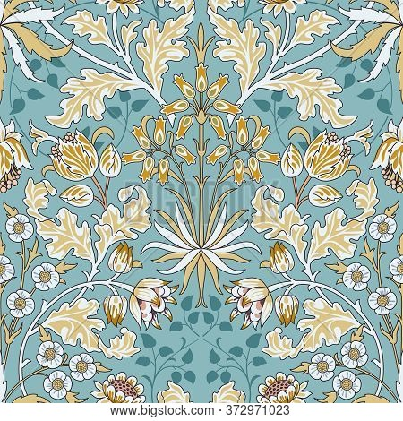 Vintage Flowers And Foliage Seamless Pattern On Light Blue Background. Middle Ages Style William Mor