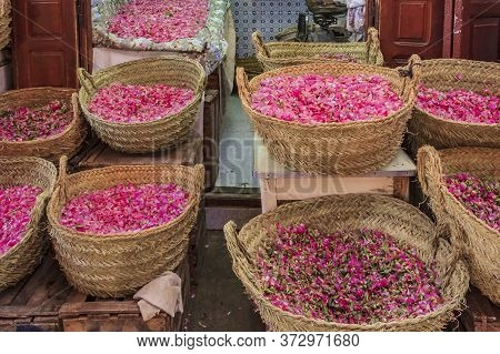 Rose Petals In Baskets At The Souk, Moroccan Market In The Medina Of Fes, Morocco