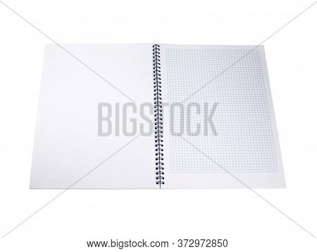 Empty White Notepad In The Cage With Blue Spiral Wire Binding. Isolated On White Background