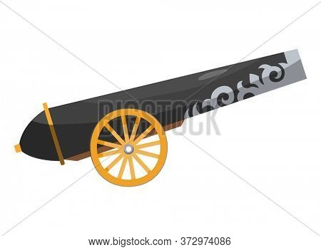 Antique pirate cannon. Vintage gun. Color image of medieval cannon for old ships on a white background. Cartoon style